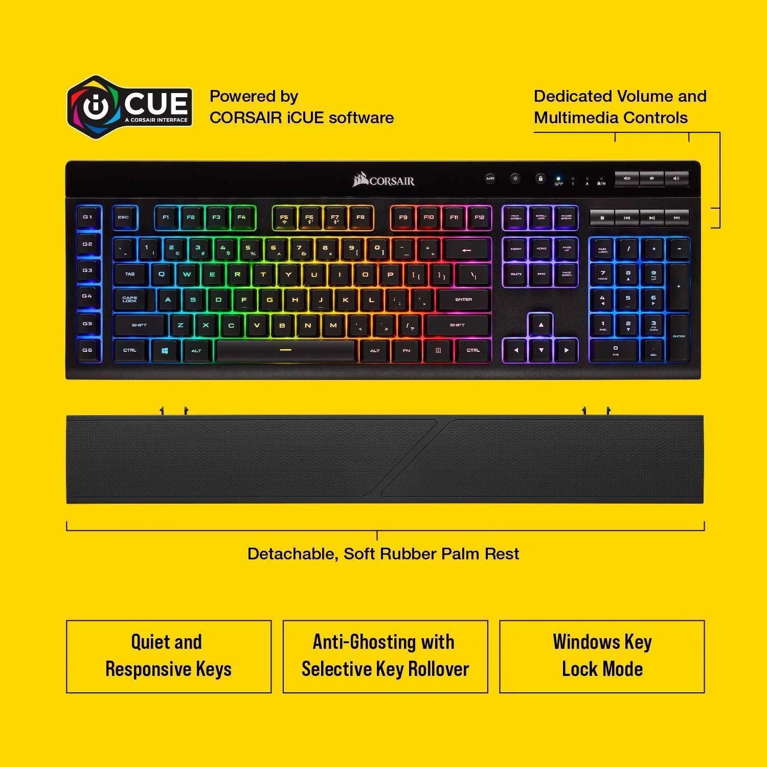 Picture of Corsair Gaming K57 RGB Wireless, Bluetooth, Wired Keyboard with 2.4GHz Slipstream Technology